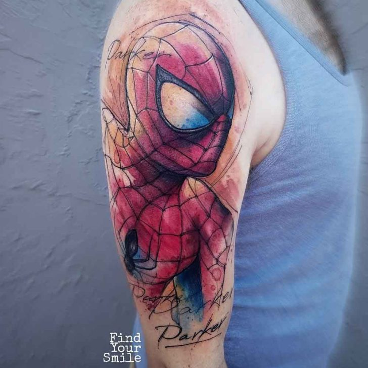 shoulder tattoo spiderman