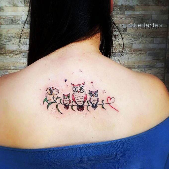 owl tattoos on back
