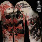 Trash Polka Tattoo Skull and Snakes
