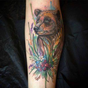 Watercolour Bear Tattoo