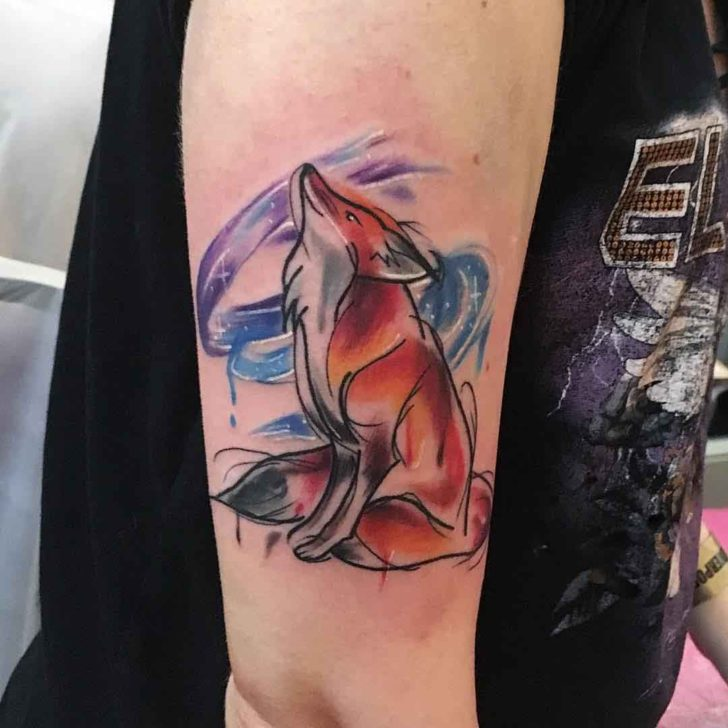 fox tattoo on arm watercolour style