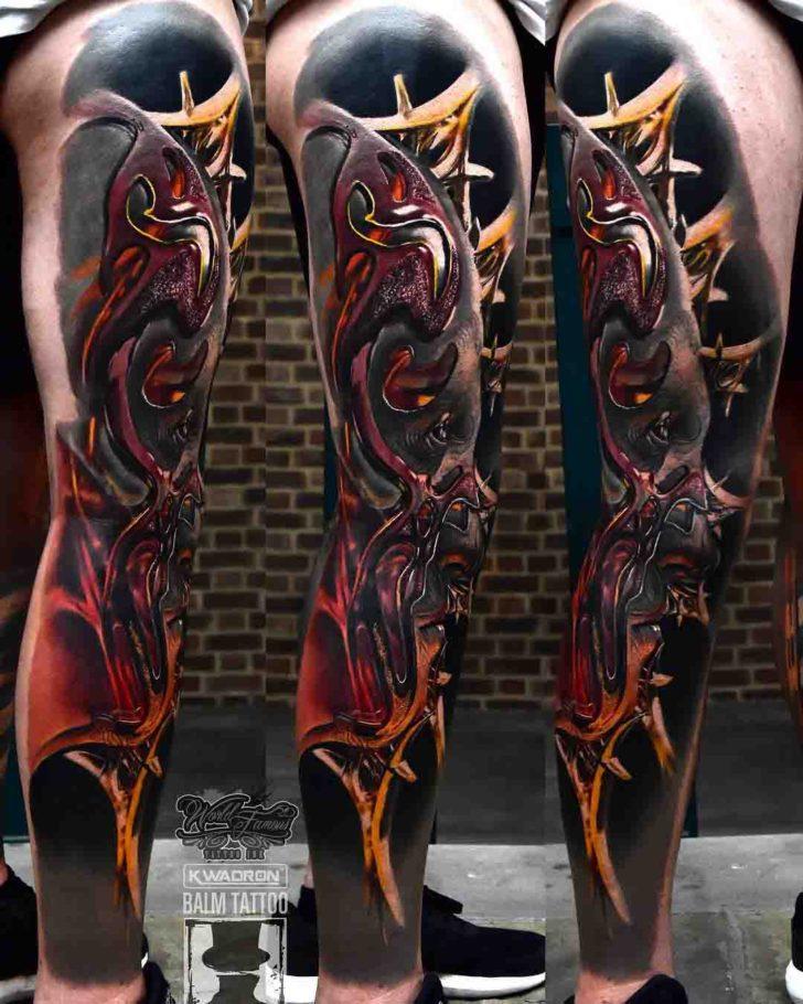 leg tattoo 3D