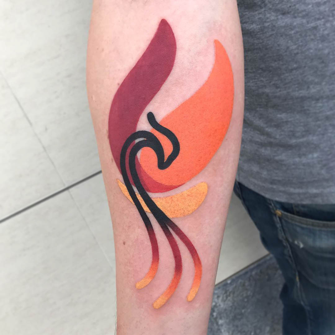 flame tattoo minimal abstraction