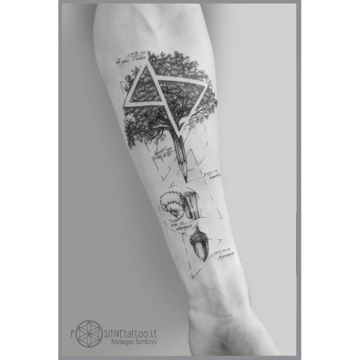 arm tattoo tree and ancorn
