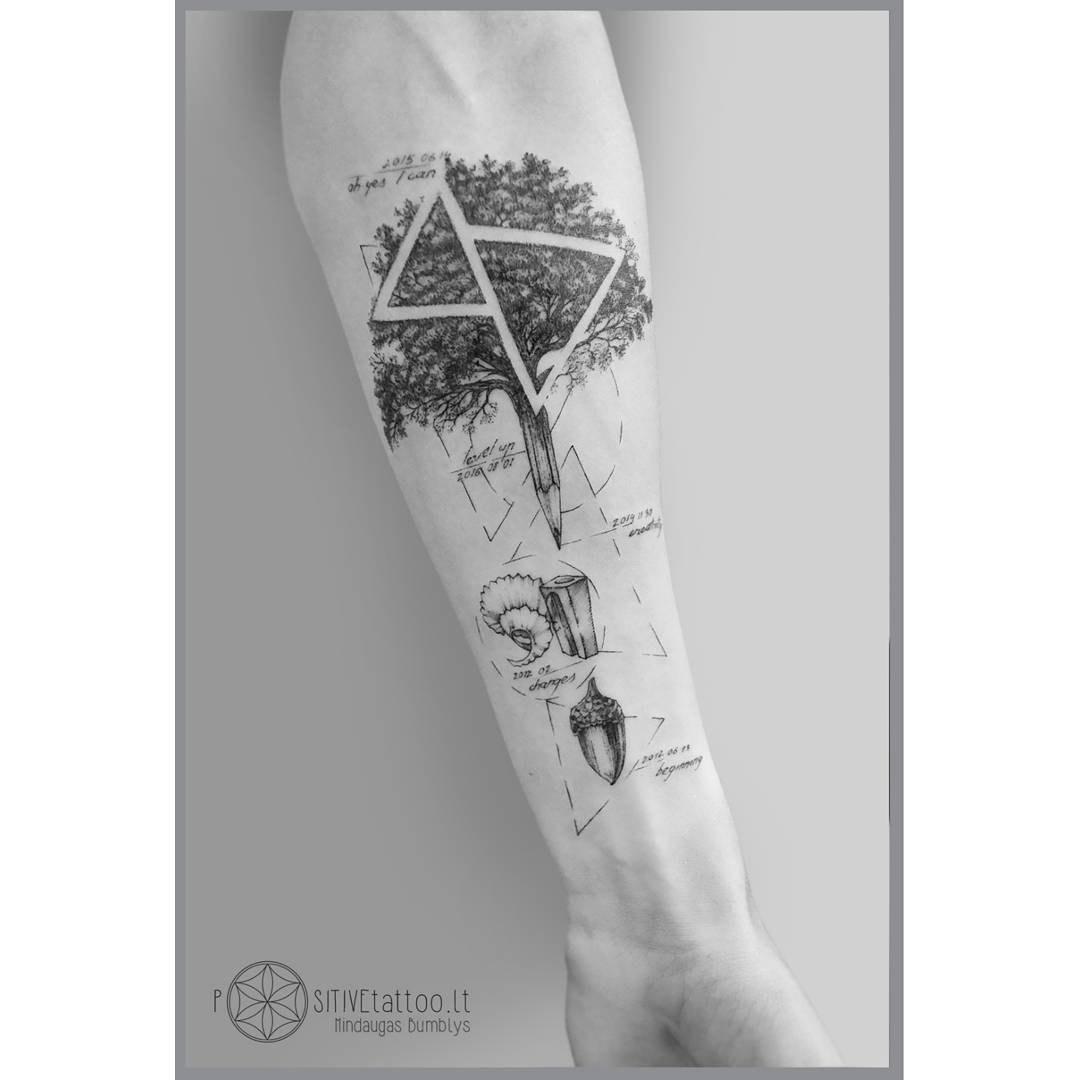 arm tattoo tree and ancorn