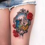 Beauty and The Beast Tattoo on Thigh