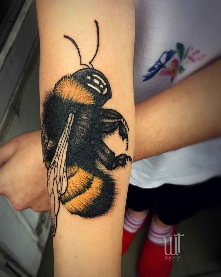 2057ca5655e67 Big Bumblebee Tattoo on Arm | Best Tattoo Ideas Gallery