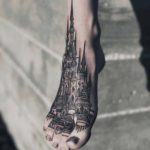 Linework Castle Tattoo on Foot