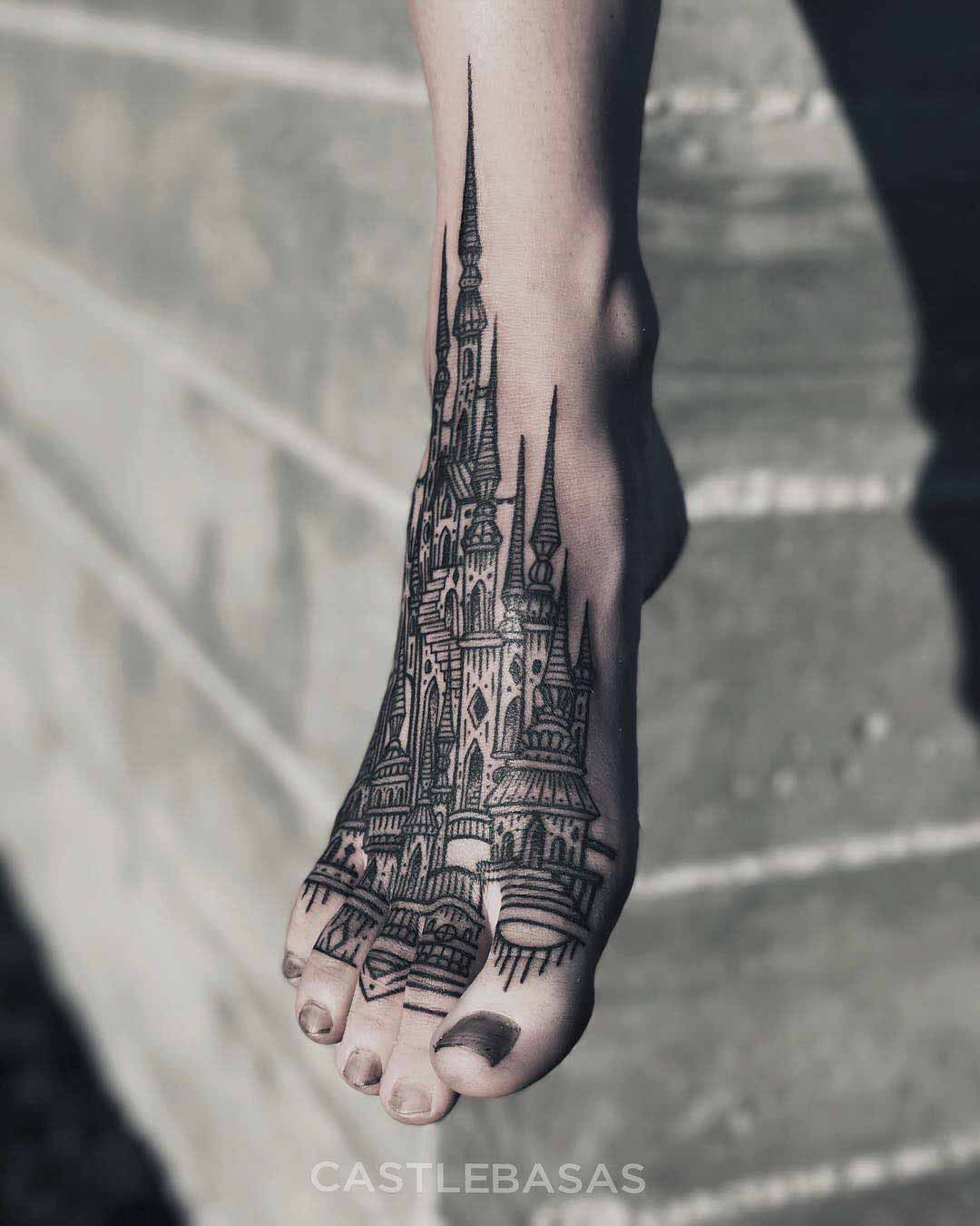 Foot tattoo castle