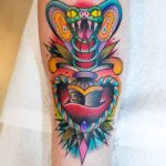 Colorful Cobra Dagger Tattoo