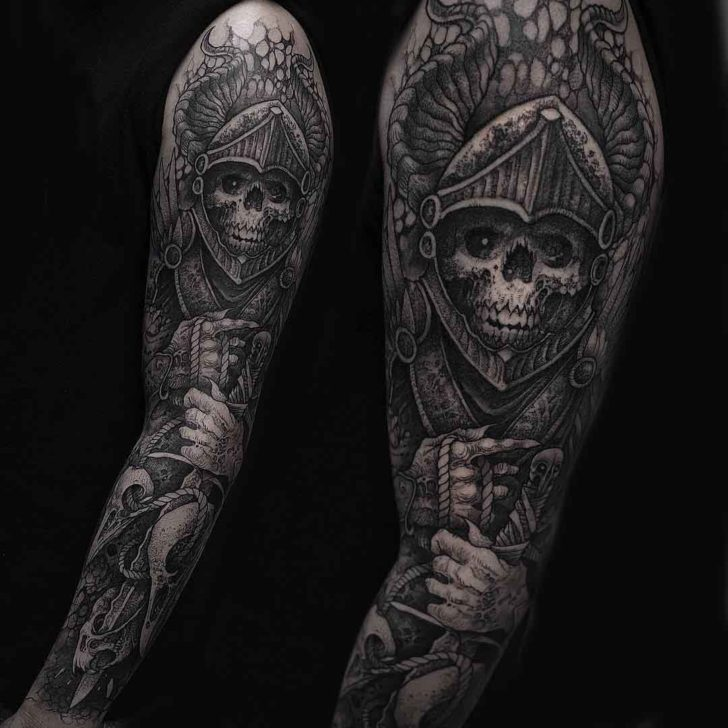 tattoo sleeve death knight skeleton