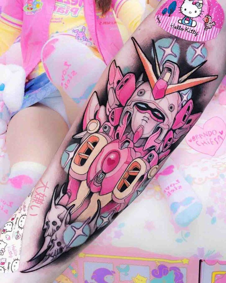 arm tattoo gundam pink colour