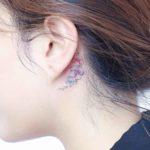 Flowers Behind Ear Tattoo