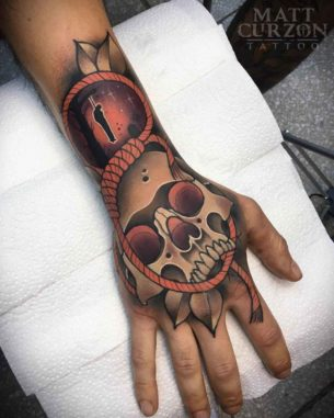 Hangman Skull Tattoo on Hand