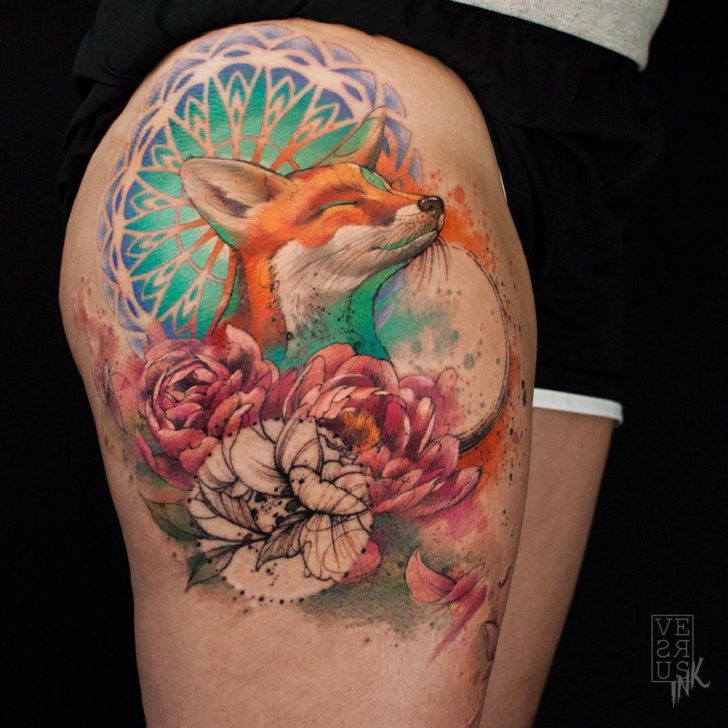 thigh tattoo happy fox