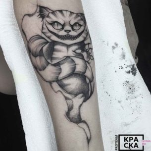 Mean Cheshire Cat Tattoo