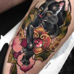 Neo-Traditional Ruby Cat Tattoo