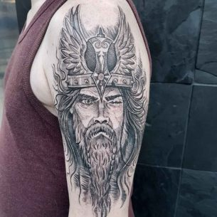 Odin Tattoo on Shoulder