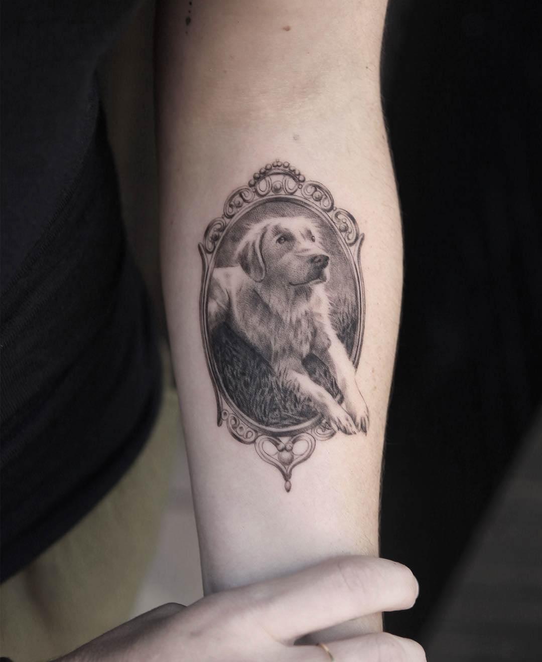 dog tattoo frame realistic