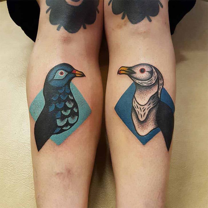 Seagull Tattoo and Pegion Tattoo on Shins