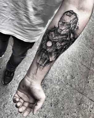 Sketchy Ironman Tattoo on Arm