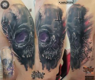 Skull Cover Up Tattoo on Shoulder