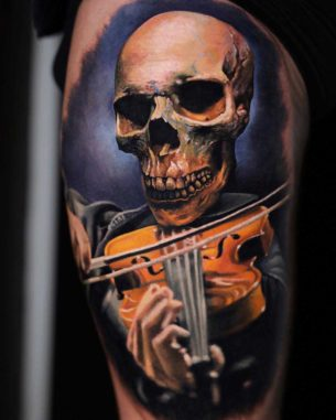 Violin Tattoo Skull