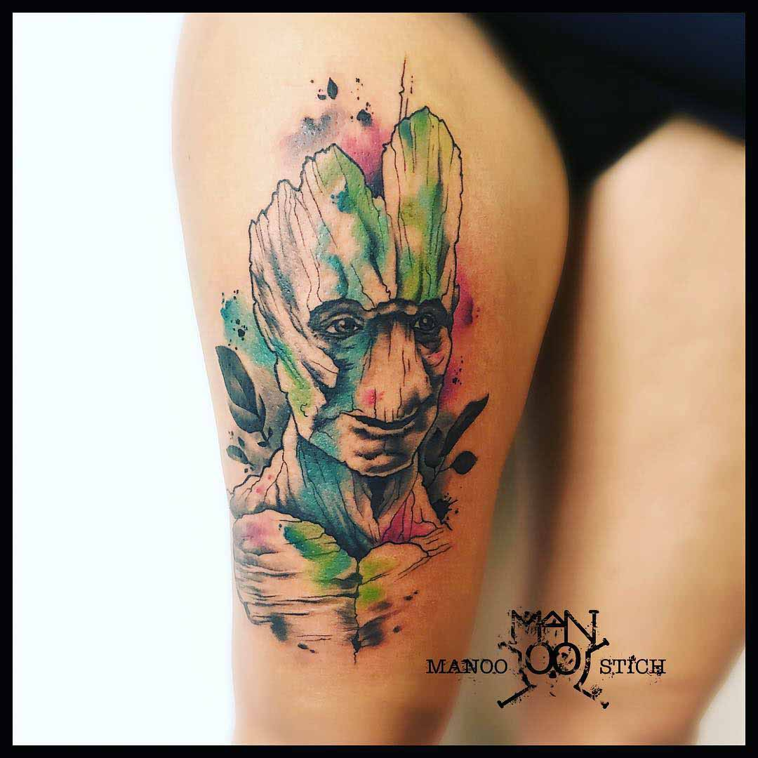 thigh tattoo groot portrait watercolor style