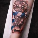 Watercolor Owl Tattoo In Scarf