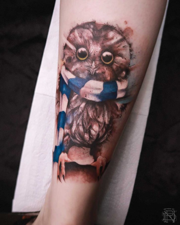cute watercolo tattoo owl