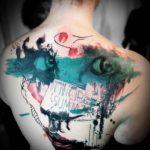Watercolor Trash Polka Tattoo