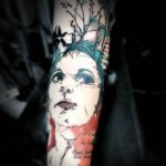 Watercolour Portrait Tattoo on Arm