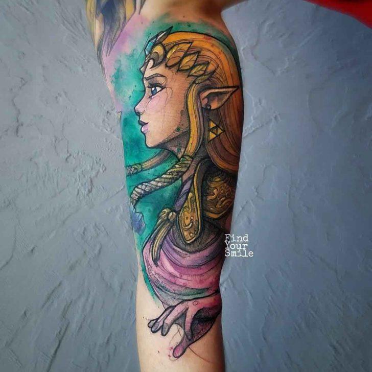 princess zelda tattoo watercolor style