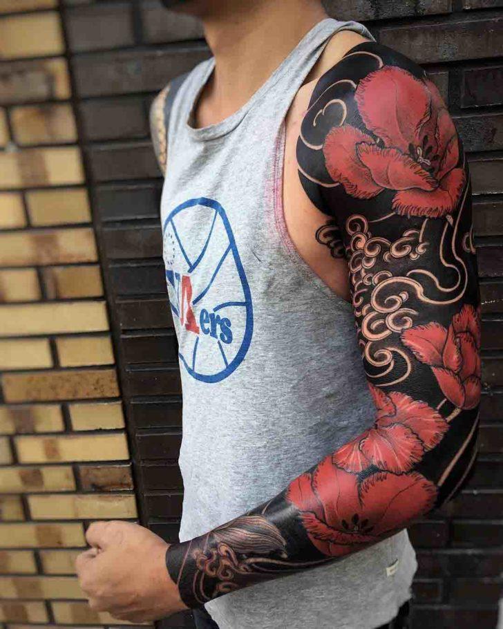 tattoo sleeve oriental poppy flower