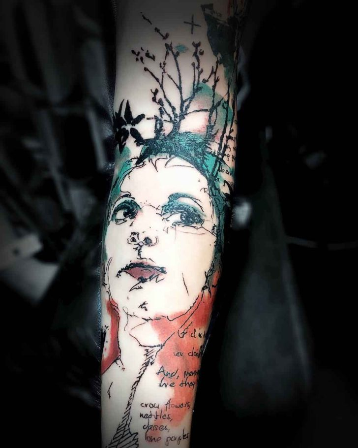 arm tattoo forest portrait watercolor style
