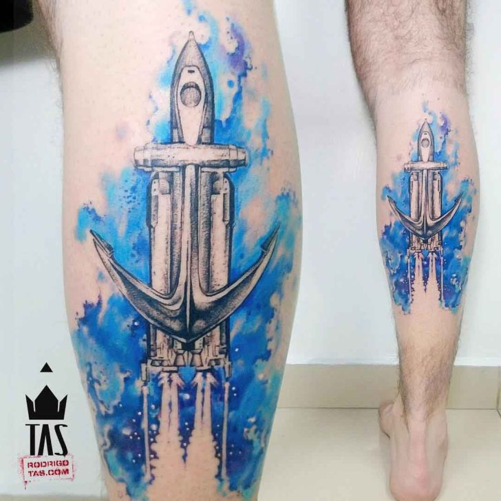 calf tattoo watercolor space ship anchor