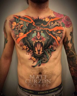 Baboon Tattoo on Chest