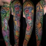 Colorful Aztec Tattoo Sleeve