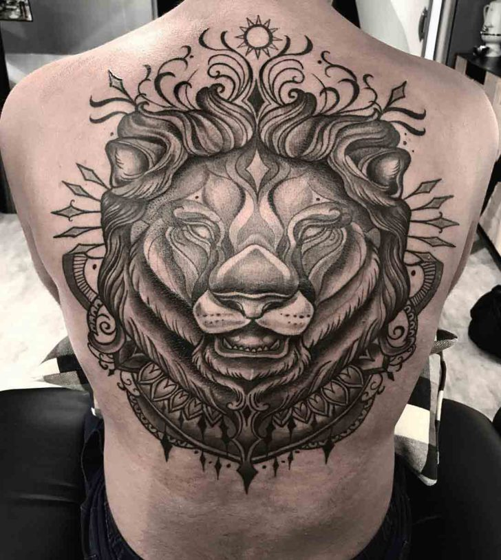 upper back tattoo lion dotwork style