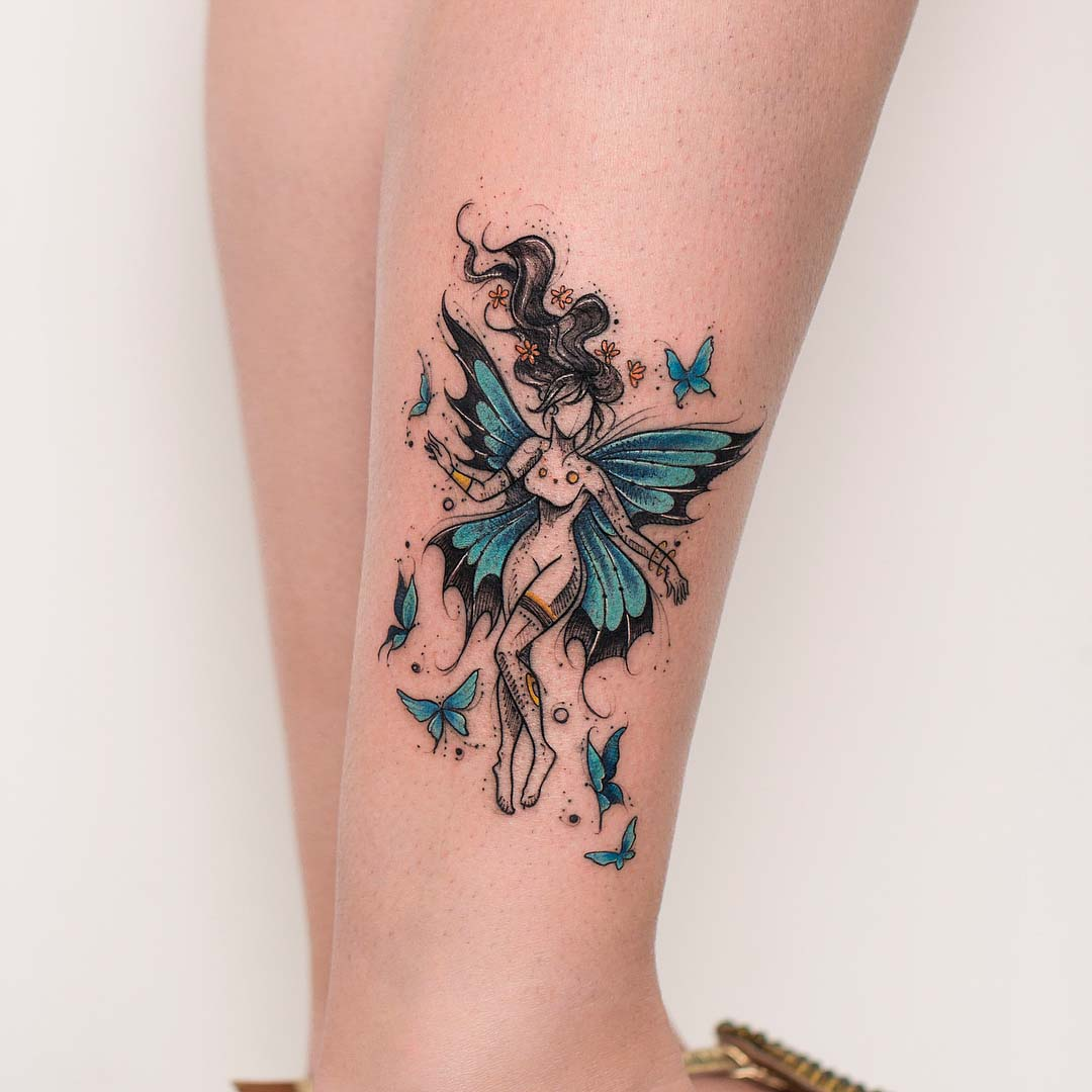 fairy tattoo on ankle