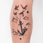 Flying on Anchor Tattoo