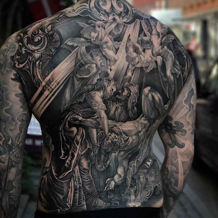 amazing religious tattoo on full back