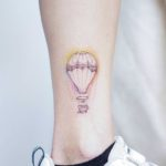 Hot Air Balloon Tattoo on Ankle