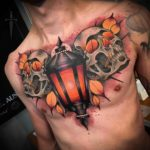 Lantern Two Skulls Tattoo on Chest