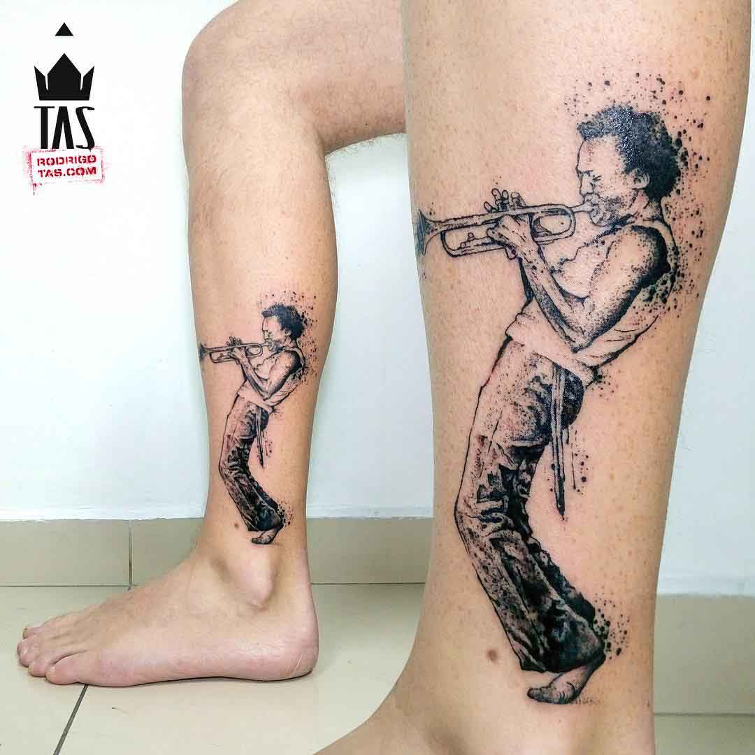 mile davis tattoo on leg musician
