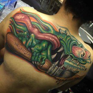 New School Tattoo on Upper Back