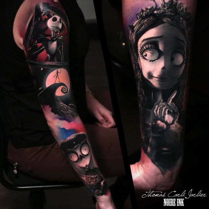 tattoo sleeve nightmare before xmas