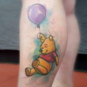 Pooh Tattoo on Calf