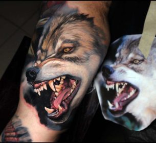 Realistic Angry Wolf Tattoo