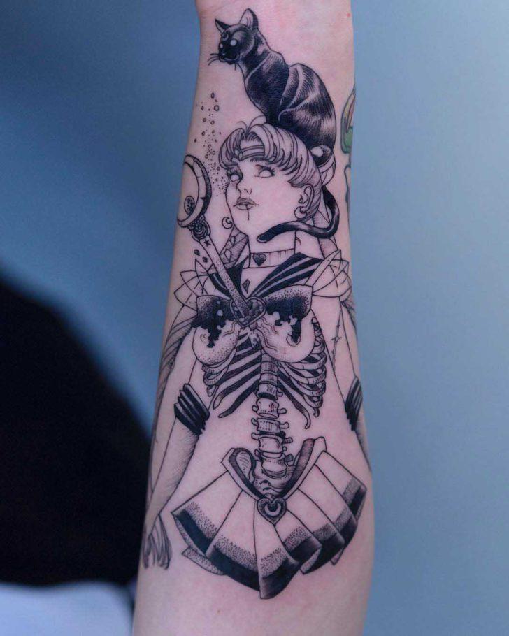 arm tattoo Sailor Moon Skeleton